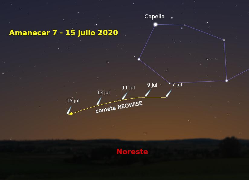 Komet NEOWISE in Spanien bis 15 July zu sehen