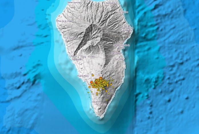 Palmas Erde bebt weiter und die Bodenverformung von Cumbre Vieja steigt
